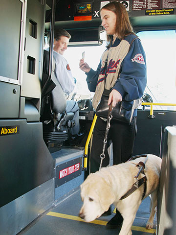 Photo of rider boarding the bus with a service animal
