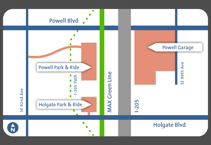 Vicinity map of Holgate Park and Ride, Powell Park and Ride and Powell Garage